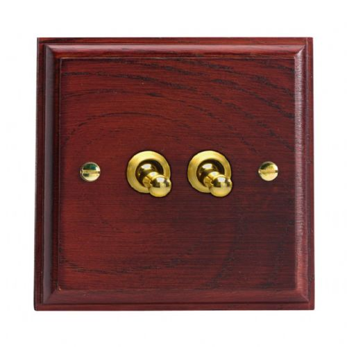 Varilight XKT2M Kilnwood Mahogany 2 Gang 10A 1 or 2 Way Toggle Light Switch